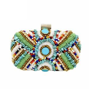 Turquoise Beaded Pearl Bohemian Gold Clutch Purse